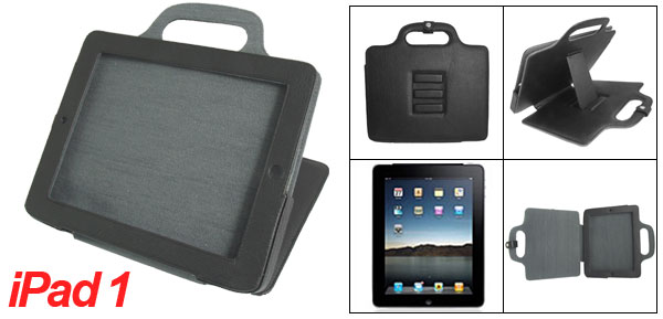 Portable Black Faux Leather Case w Stand Leg for Apple iPad 1
