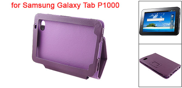 Purple Fuax Leather Magnetic Closure Case Pouch for Sumsung Galaxy Tab P1000
