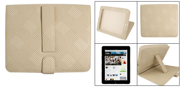 Beige White Faux Leather Horizontal Case for iPad 1G