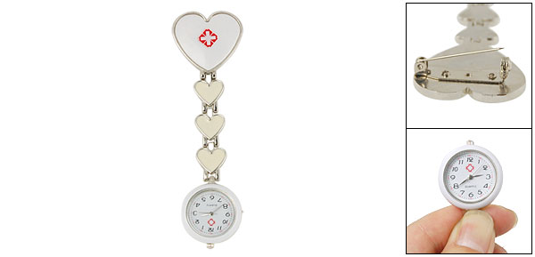 White Arabic Numerals Round Dial Pendent Brooch Nurse Watch