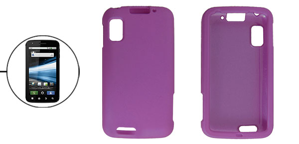 Detachable Purple Rubberized Plastic Cover Case for Motorola MB860