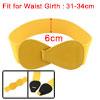 Interlock 8-shaped Faux Leather Buckle Elastic Belt Yellow for La...