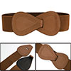 Brown Interlock Buckle Elastic High Waist Cinch Belt for Lady
