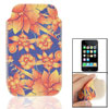 Textured Flower Print Faux Leather Sleeve Pouch for iPhone 3G 3GS