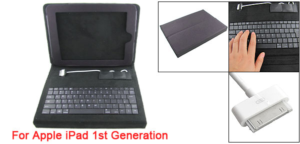 Black Faux Leather Cover w Keyboard for Apple iPad 1st Generation