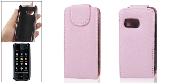 Vertical Magnetic Flip Pink Faux Leather Pouch for Nokia 5800