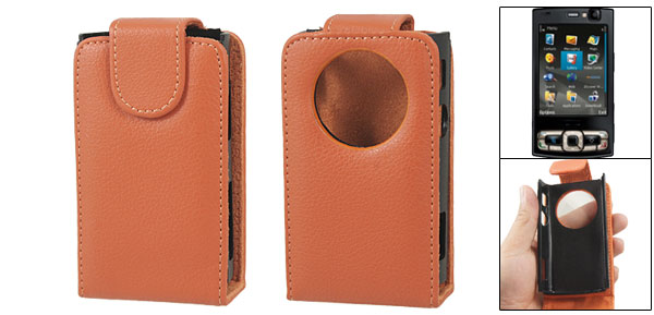 Orange Faux Leather Magnetic Flip Flap Pouch for Nokia N95