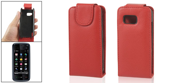 Red Vertical Magnetic Flip Faux Leather Pouch for Nokia 5800
