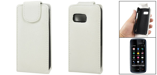 White Vertical Magnetic Flip Faux Leather Pouch Case for Nokia 5800