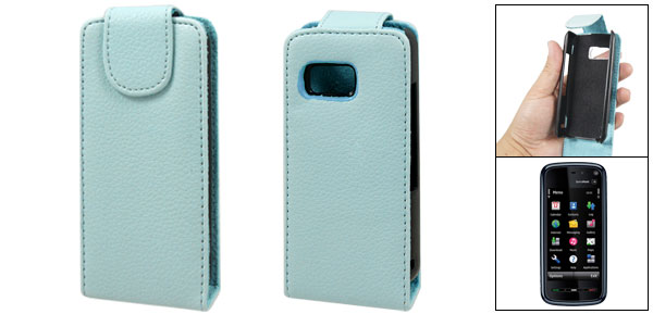 Babyblue Vertical Magnetic Flip Faux Leather Pouch for Nokia 5800