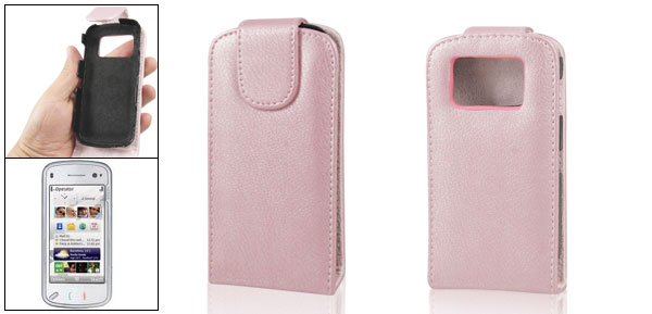 Pink Faux Leather Vertical Flip Flap Pouch for Nokia N97