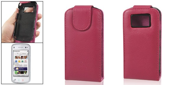 Magenta Faux Leather Vertical Flip Flap Pouch for Nokia N97