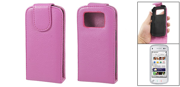 Built-in Plastic Case Fuchsia Faux Leather Cover for Nokia N97