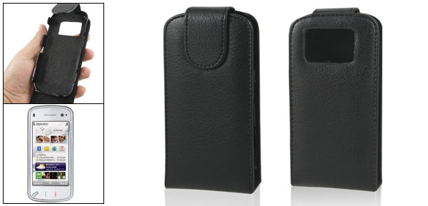 Magnetic Closure Flannel Lining Black Pouch for Nokia N97