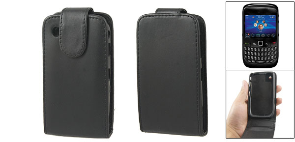 Bulti-in Plastic Case Faux Leather Pouch Black for Blackberry Curve 8520