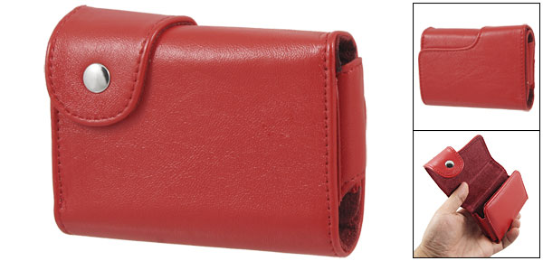Clip Button Red Faux Leather Camera Case Bag for Canon