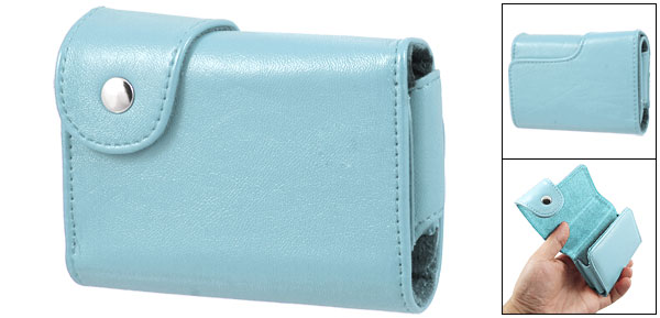 Press Button Sky Blue Fuax Leather Camera Case Bag for Canon