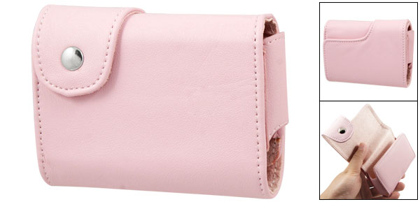Press Button Pink Stitched Faux Leather Camera Case Bag for Canon