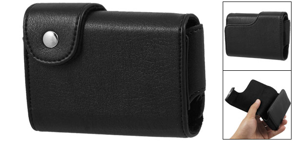 Press Button Black Fuax Leather Camera Case Bag for Canon