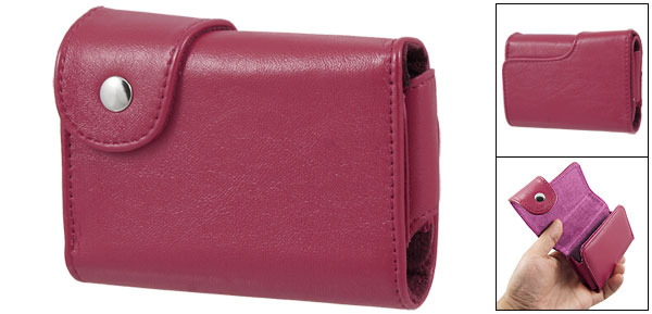 Fuchsia Stitched Rim Faux Leather Camera Case Bag for Canon