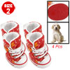 Puppy Self-tie White Orange Flower Print Red Canvas Boot Size 2