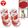 Doggy White Orange Flower Print Red Canvas Boot Size 4