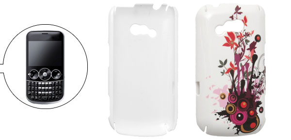 Hard Plastic Red Floral White Back Case Shell for LG GW300