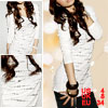 Black Rhinestuds Detailings Striped White Scoop Neck Shirt for Lady S