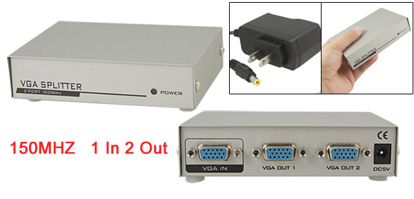 US Plug AC 100- 240V 150MHz RGB Video Signal 2 Ports VGA Splitter Switch Gray w Power Adapter
