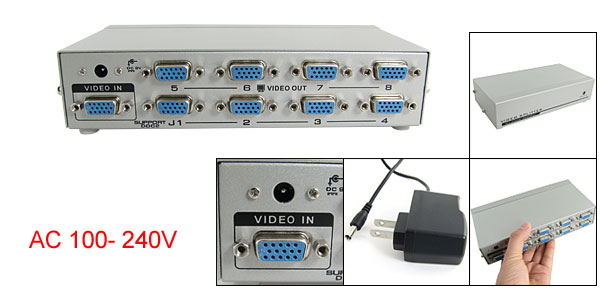 US Plug AC 100- 240V 250MHz 1 In 8 Out Video Port VGA Splitter Sharing for PC LCD