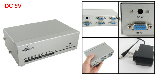 US Plug AC 100- 240V 250MHz 4 Port VGA Splitter Video Monitor w Adapter DC 9V