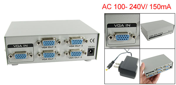 US Plug AC 110-240V 4 Port VGA Video Display Splitter 150MHz w Charger DC 5V