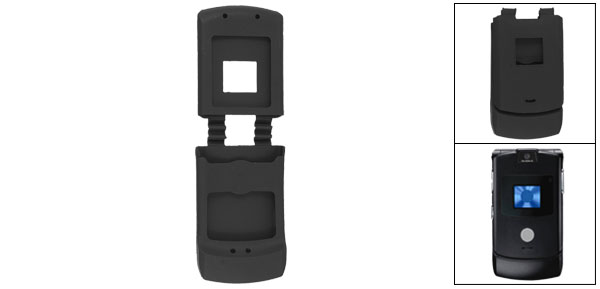 Smooth Silicone Skin Black Protector Case for Motorola V3