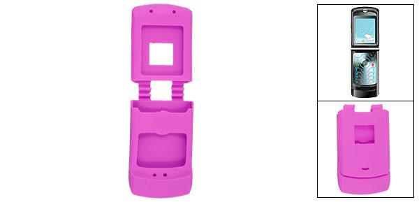 Protective Silicone Skin Case Fuchsia Cover for Motorola V3