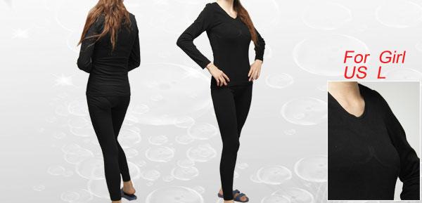 Girls Black Long Sleeves Round Neck Winter Underwear Set US L