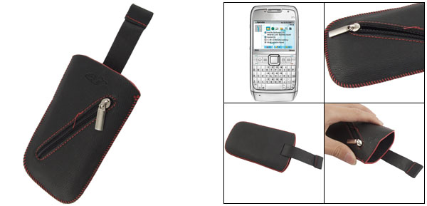 Black Faux Leather Smooth Pull Strap Pouch for Nokia E71