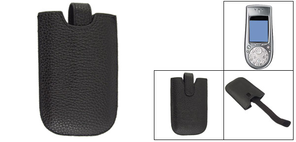 Protective Black Faux Leather Pull Strap Pouch for Nokia 3650