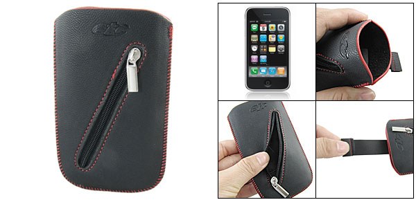 Red Stitching Hem Black Sleeve Pouch Bag for iPhone 3G