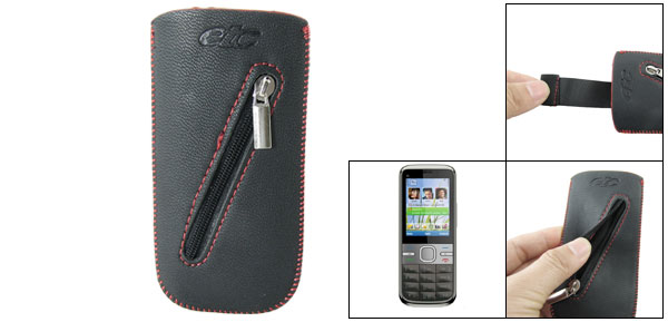 Textured Black Faux Leather Pull Up Cover for Nokia C5