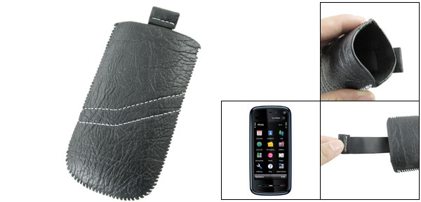 Faux Leather Pull Up Sleeve Pouch Black for Nokia 5800