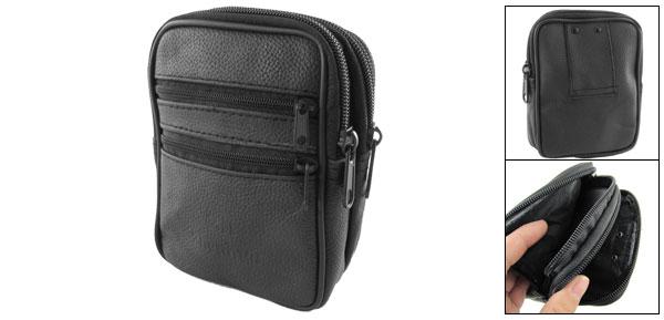 Black Fauxl Leather 4 Zippered Pocket Belt Loop Waist Bag