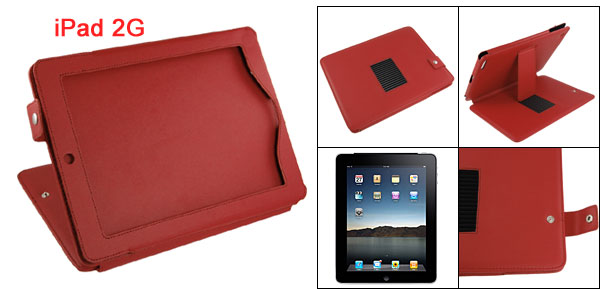 Press Button Faux Leather Stand Case Protector Red for iPad 2G