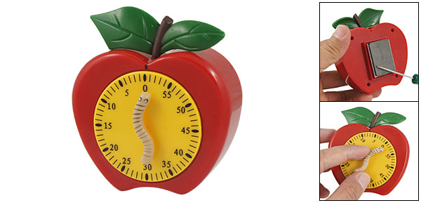 Apple Shape Caterpillar Handle 60 Minute Wind up Style Count Down Timer
