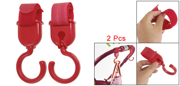 Household Plastic Strap Hanging Fixed Clothes Gadgets Hanger Hook Red 2 Pcs