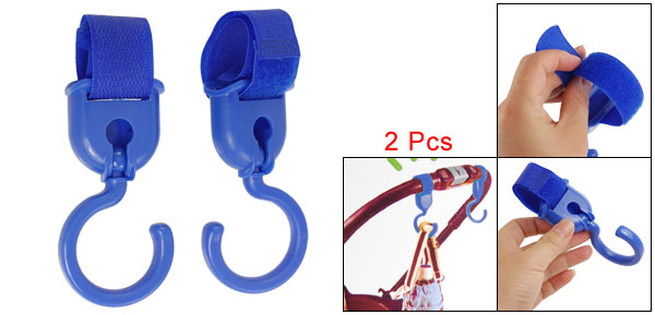 Family Plastic Adjustive Hook Loop Fastener Strap Gadgets Hanger Blue 2 Pcs