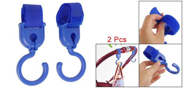 Family Plastic Adjustive Hook Loop Fastener Strap Gadgets Hanger Blue 2 Pcs