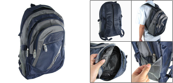 Travel Campus Gray Dark Blue Double Shoulder Pack Backpack