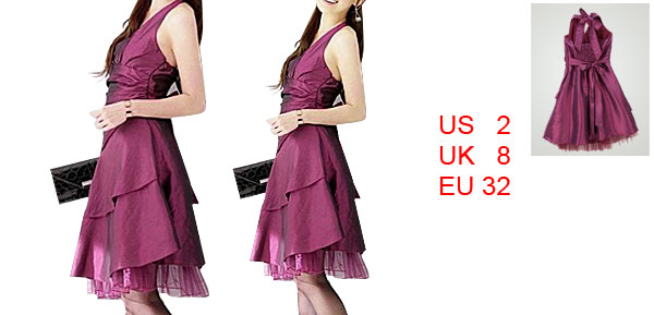 Ladies Dark Fuchsia Self-tie Waist Pleated Back Halter Neck Party Dress XS