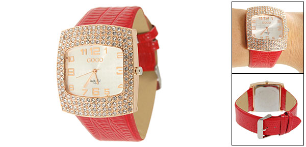 Crocodile Print Faux Leather Band Rhinestone Decor Wrist Watch for Lady