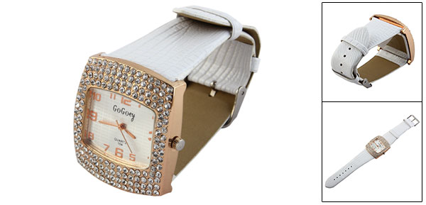 Lady Rhinestone Accent Crocodile Print White Faux Leather Band Wrist Watch